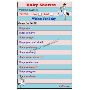 "Wishes for Baby Game Pack of 6 (size 11.7"" x 8.3"")"