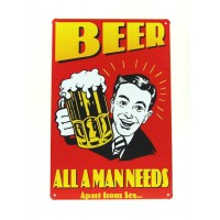 Beer All A Man Needs Apart From Sex Metal Sign