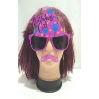 Birthday Girl Printed Eye Glass With Moustache