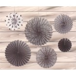 Black And White Paper Fans (Set of 6)