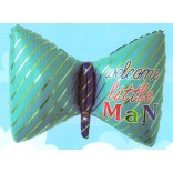 Welcome Little Man Printed Supershape Bow Foil Balloon