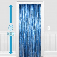Blue Foil Fringe Curtain (3 feet x 6 feet)