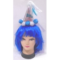 Blue Happy Birthday Printed Cap with Hairband