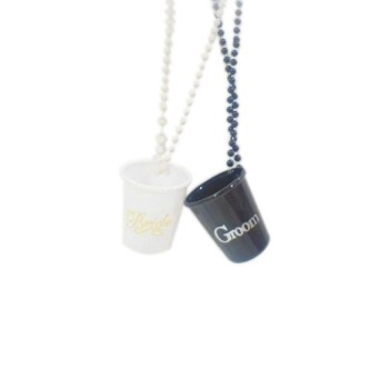 Bride And Groom Shot Glasses With Beads
