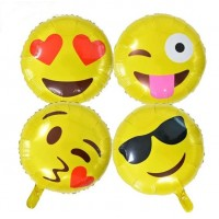 Assorted Design Emoji Emoticons Foil Balloons (Pack of 4)