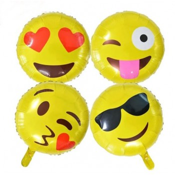 Cute Emoji Theme Assorted Design Foil Balloon (1 Pc)