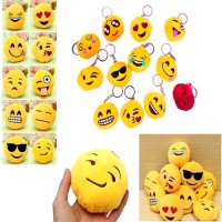 Emoji Soft Velvet Stuff Assorted Key Chain (Pack of 1)