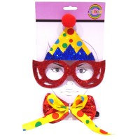 Funny Clown Eye Glass With Bow