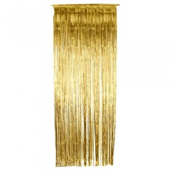 Golden Foil Fringe Curtain (3 feet x 6 feet)