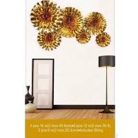 Golden Foil Paper Fans Set of 6