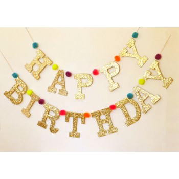 Golden Glitter Birthday Banner With Pom Poms