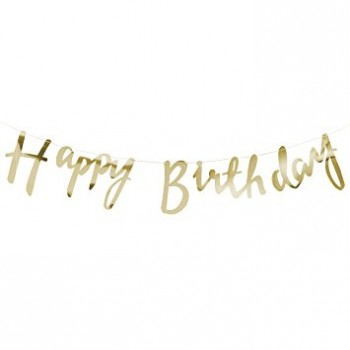 Golden Happy Birthday Bunting