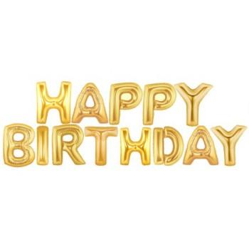 Golden Happy Birthday Balloons