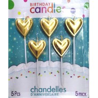 Golden Heart Candle (5 Pc)
