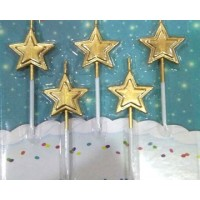 Golden Star Candles (5 Pc)