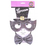 Groom Sequin Style Eye Glass With Hat And Stylish Bow