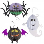 Halloween Spider, Ghost and Bat Shape Paper Lanterns (Set of 3)