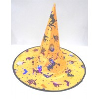 Halloween Shiny Cloth Yellow Witch Hat