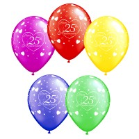 Assorted Happy 25th Anniversary Printed Balloons (Pack of 10 Pcs)