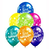 Assorted Happy Anniversary Printed Balloons (Pack of 10 Pcs)