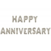 Happy Anniversary Silver Letter Foil Balloon