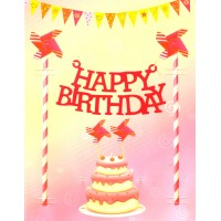 Happy Birthday Felt Cake Decor KIt (Red Colour)