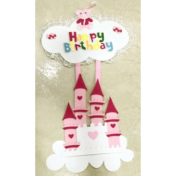 Happy Birthday Pink Home Felt Hanging