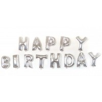 Happy Birthday Silver Letter Balloons