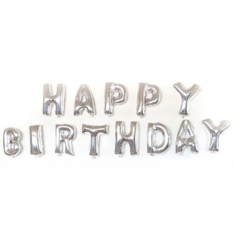 happy birthday silver letter foil balloons