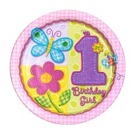 Hugs and Stitches 1st Birthday Girl Theme Paper Plates