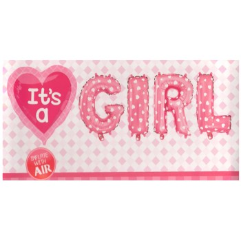 It's A Girl Supershape Foil Balloons Set of 5