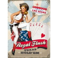 Las Vegas Royal Flush Texas Hold 'EM Metal Sign