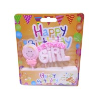 Light Pink Birthday Girl Printed Candle