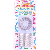 Metallic Silver Candles And Holders