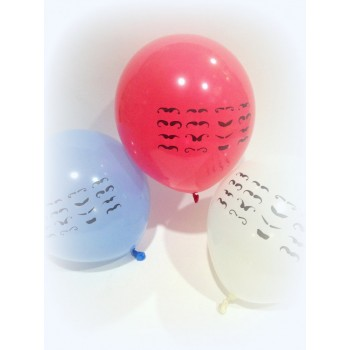 Mustache Printed Latex Balloon (Pack of 10)