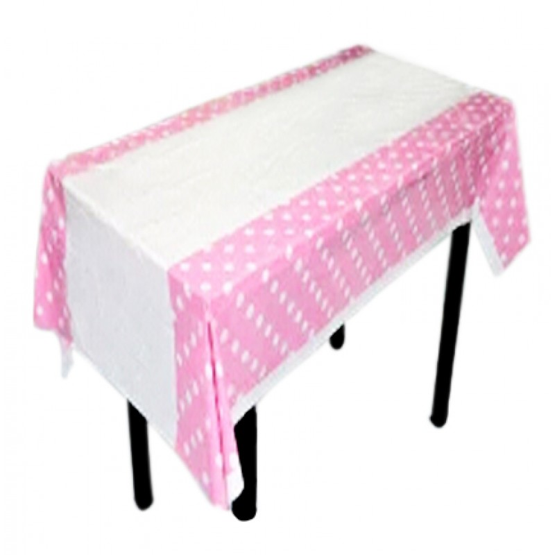 polka dot design plastic table sheet pink