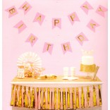Happy Birthday Golden Foil Printed Letters Banner (Pink)