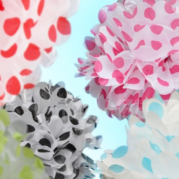 Assorted Polka Dot Paper Pom Poms (Set of 3)
