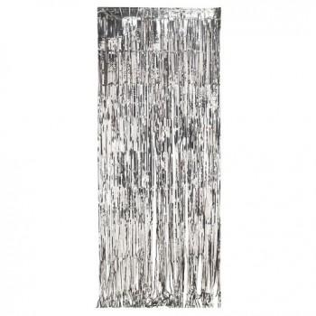 Silver Foil Fringe Curtain (3 feet x 6 feet)