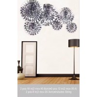 Silver Foil Paper Fan Set of 6