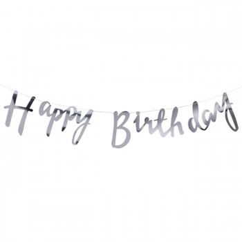Silver Happy Birthday Bunting