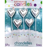Silver Heart Candle (5 Pc)