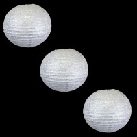 Silver Shimmer Paper Lanterns (Pack of 3)