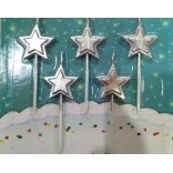 Silver Star Candles (5 Pc)