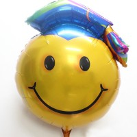 Smiley Graduation Foil Balloon