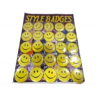 Smiley Printed Style Badges (Pack of 25)