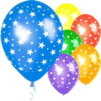 Assorted Star Printed Balloons (Pack of 10 Pcs)