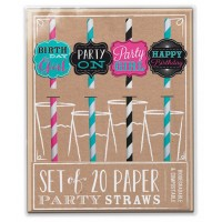 Set of 20 Birthday Party Paper Straws