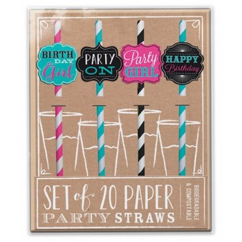 Set of 20 Birthday Party Paper Straws