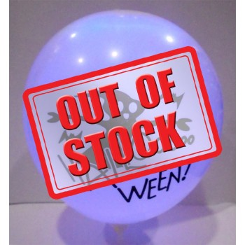 White Colour Halloween Printed Led Latex Balloons (Pack of 5)